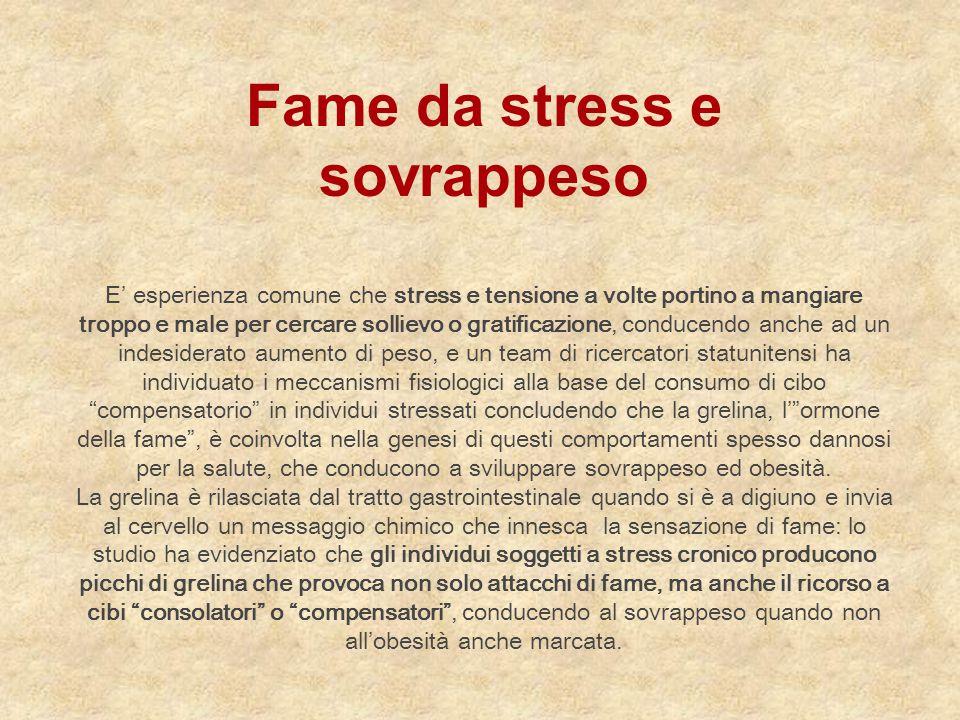 Fame da stress e sovrappeso E' esperienza comune che stress e tensione a volte portino a mangiare troppo e male per cercare sollievo o gratificazione,