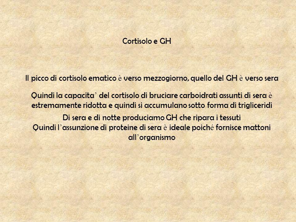 Cortisolo e GH Il picco di cortisolo ematico è verso mezzogiorno, quello del GH è verso sera Quindi la capacita ' del cortisolo di bruciare carboidrat