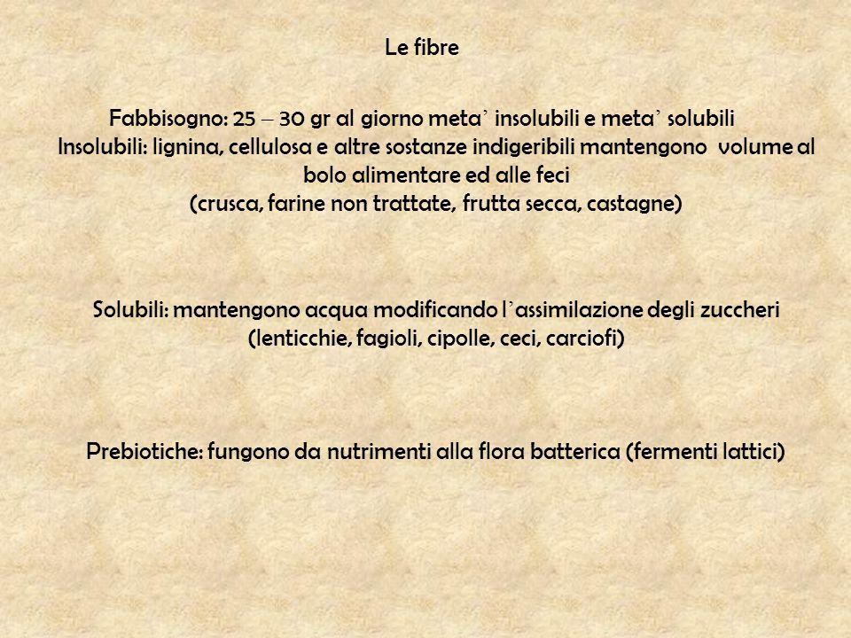 Le fibre Fabbisogno: 25 – 30 gr al giorno meta ' insolubili e meta ' solubili Insolubili: lignina, cellulosa e altre sostanze indigeribili mantengono