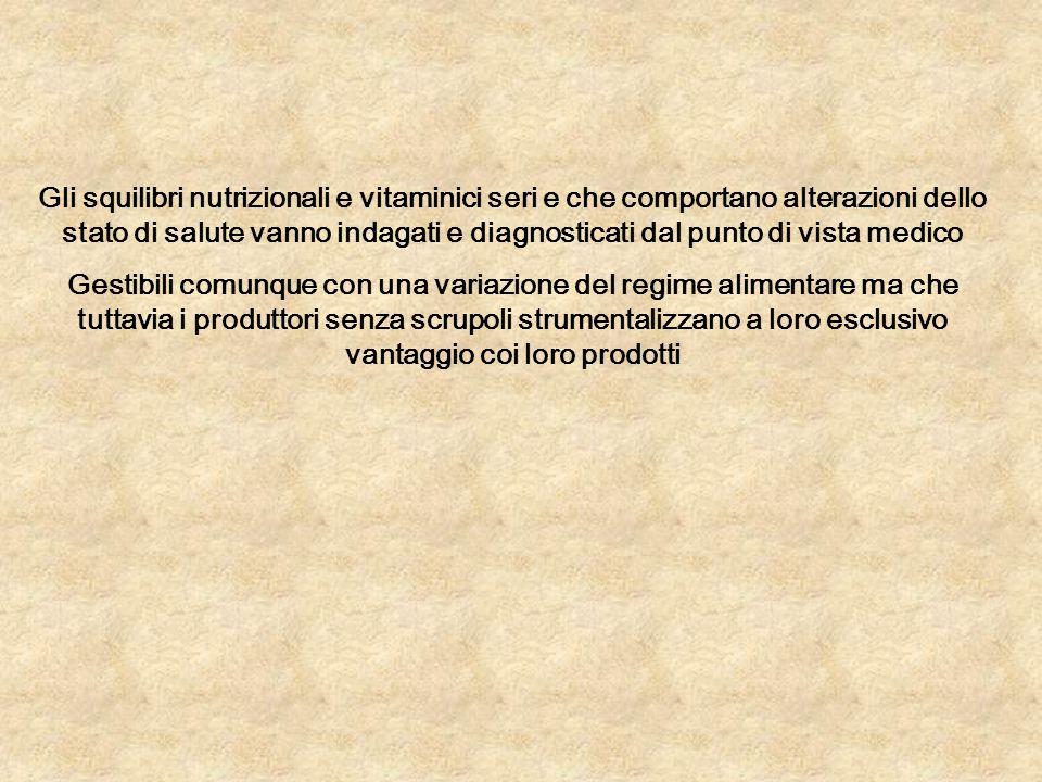 Gli squilibri nutrizionali e vitaminici seri e che comportano alterazioni dello stato di salute vanno indagati e diagnosticati dal punto di vista medi