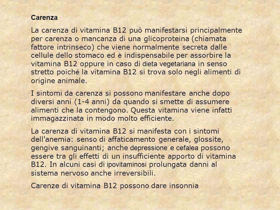 Carenza La carenza di vitamina B12 può manifestarsi principalmente per carenza o mancanza di una glicoproteina (chiamata fattore intrinseco) che viene