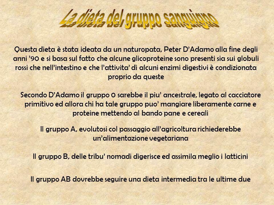 Questa dieta è stata ideata da un naturopata, Peter D'Adamo alla fine degli anni '90 e si basa sul fatto che alcune glicoproteine sono presenti sia su