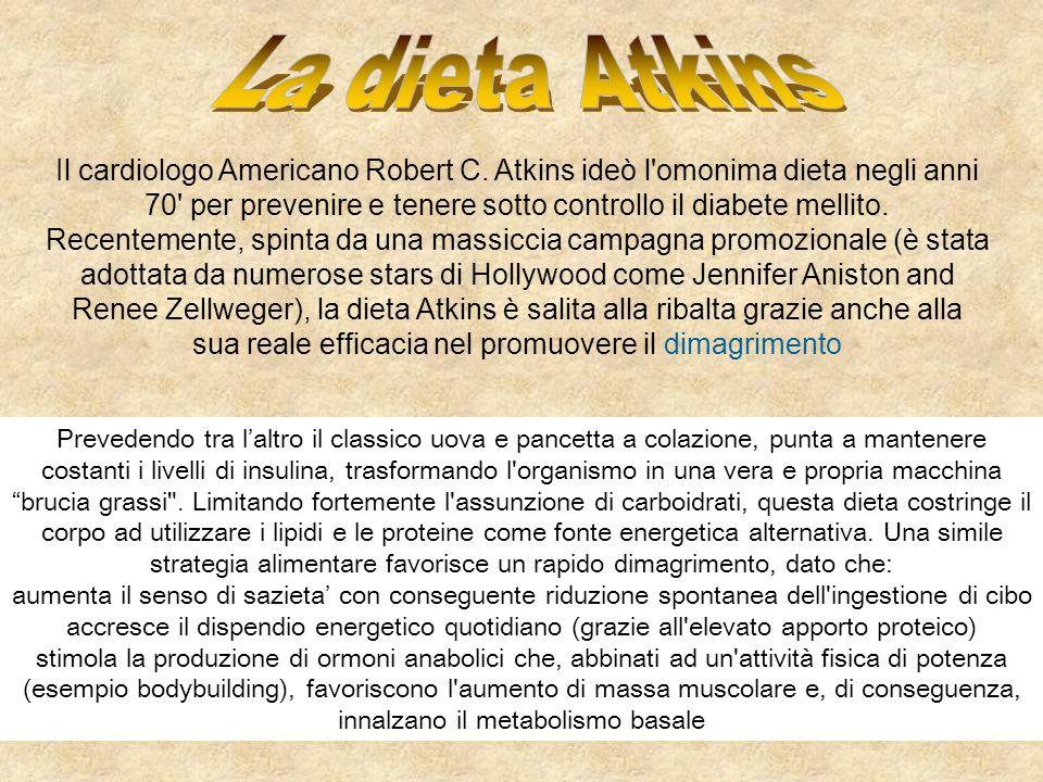 Il cardiologo Americano Robert C. Atkins ideò l'omonima dieta negli anni 70' per prevenire e tenere sotto controllo il diabete mellito. Recentemente,