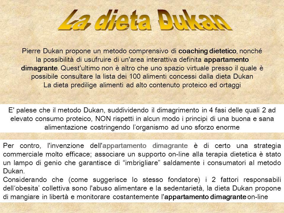 E' palese che il metodo Dukan, suddividendo il dimagrimento in 4 fasi delle quali 2 ad elevato consumo proteico, NON rispetti in alcun modo i principi