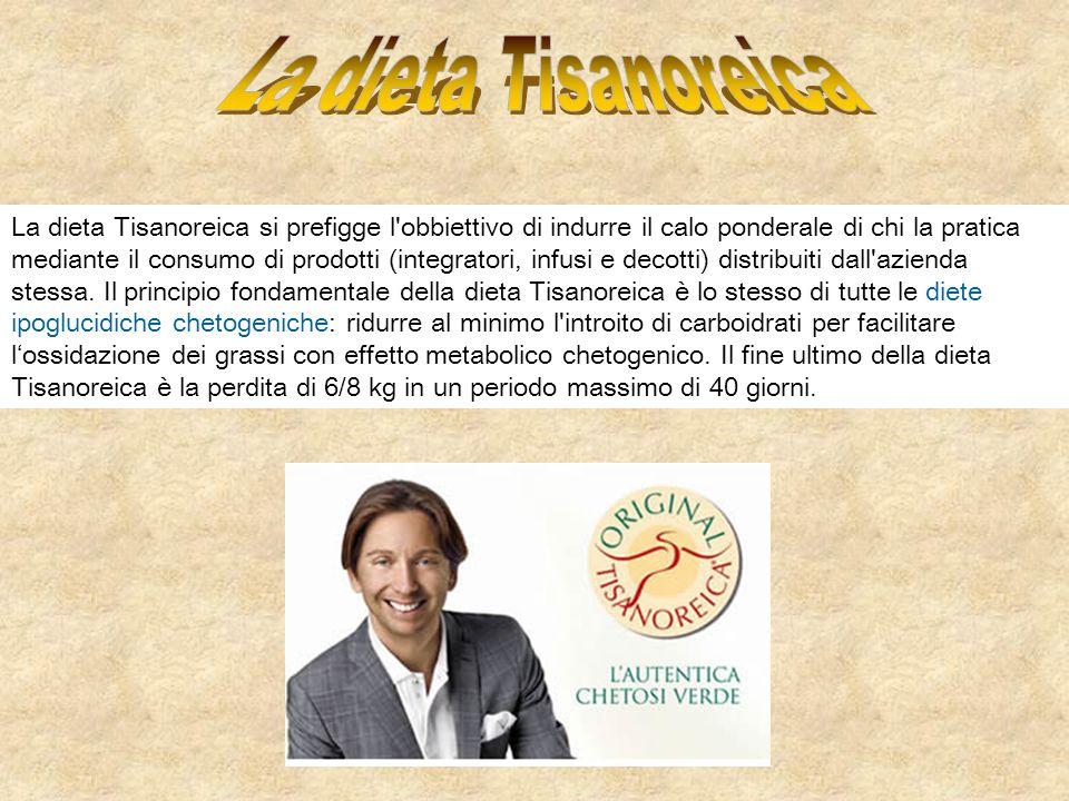 La dieta Tisanoreica si prefigge l'obbiettivo di indurre il calo ponderale di chi la pratica mediante il consumo di prodotti (integratori, infusi e de