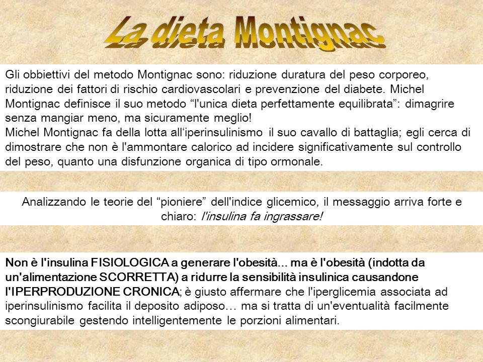 Gli obbiettivi del metodo Montignac sono: riduzione duratura del peso corporeo, riduzione dei fattori di rischio cardiovascolari e prevenzione del dia