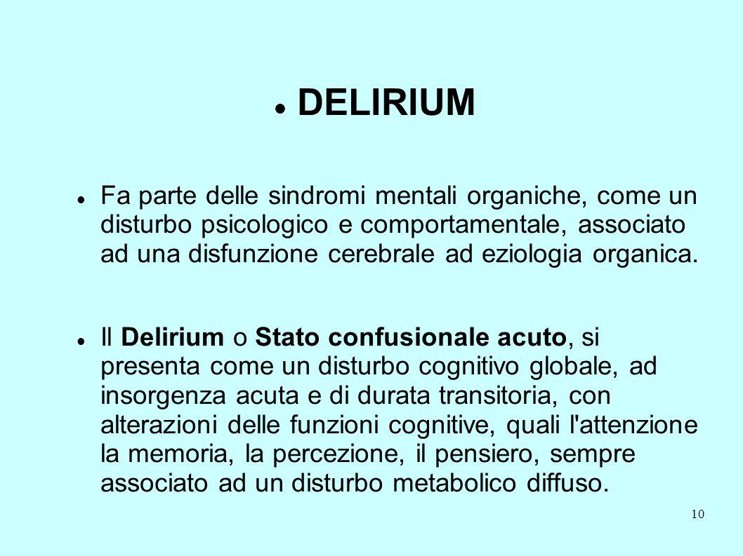 10 DELIRIUM Fa parte delle sindromi mentali organiche, come un disturbo psicologico e comportamentale, associato ad una disfunzione cerebrale ad eziol
