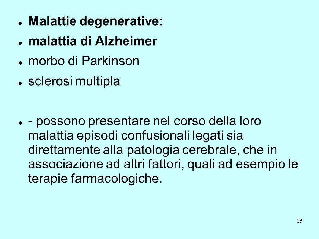 15 Malattie degenerative: malattia di Alzheimer morbo di Parkinson sclerosi multipla - possono presentare nel corso della loro malattia episodi confus
