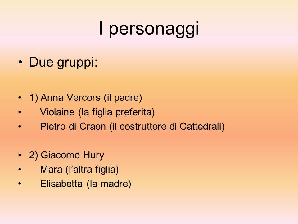 I personaggi Due gruppi: 1) Anna Vercors (il padre) Violaine (la figlia preferita) Pietro di Craon (il costruttore di Cattedrali) 2) Giacomo Hury Mara