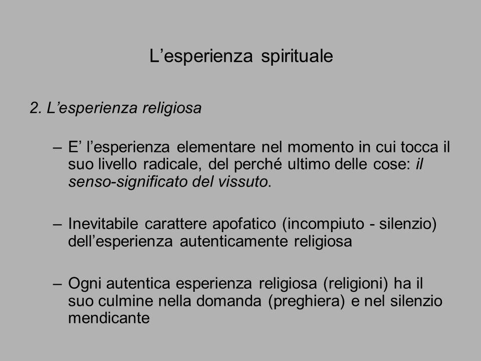 L'esperienza spirituale 2. L'esperienza religiosa –E' l'esperienza elementare nel momento in cui tocca il suo livello radicale, del perché ultimo dell