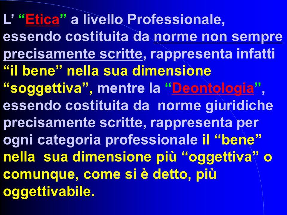"""L' """"Etica"""" a livello Professionale, essendo costituita da norme non sempre precisamente scritte, rappresenta infatti """"il bene"""" nella sua dimensione """"s"""