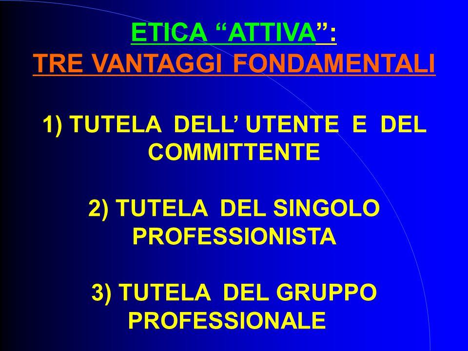 ETICA ATTIVA : TRE VANTAGGI FONDAMENTALI 1) TUTELA DELL' UTENTE E DEL COMMITTENTE 2) TUTELA DEL SINGOLO PROFESSIONISTA 3) TUTELA DEL GRUPPO PROFESSIONALE