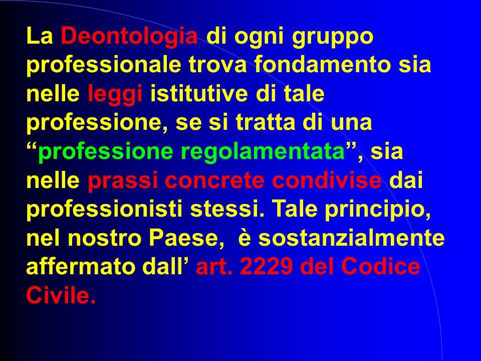 """La Deontologia di ogni gruppo professionale trova fondamento sia nelle leggi istitutive di tale professione, se si tratta di una """"professione regolame"""