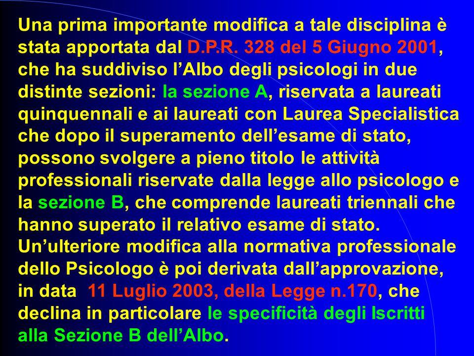 Una prima importante modifica a tale disciplina è stata apportata dal D.P.R. 328 del 5 Giugno 2001, che ha suddiviso l'Albo degli psicologi in due dis