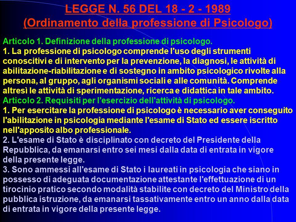 LEGGE N. 56 DEL 18 - 2 - 1989 (Ordinamento della professione di Psicologo) Articolo 1. Definizione della professione di psicologo. 1. La professione d