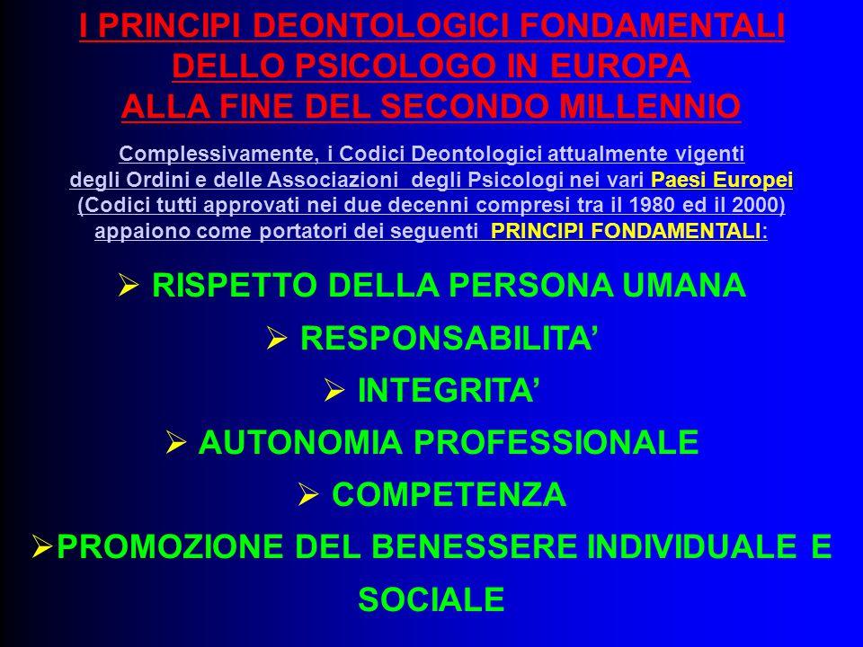 I PRINCIPI DEONTOLOGICI FONDAMENTALI DELLO PSICOLOGO IN EUROPA ALLA FINE DEL SECONDO MILLENNIO Complessivamente, i Codici Deontologici attualmente vig