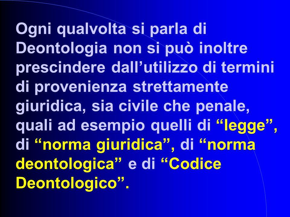 Ogni qualvolta si parla di Deontologia non si può inoltre prescindere dall'utilizzo di termini di provenienza strettamente giuridica, sia civile che p