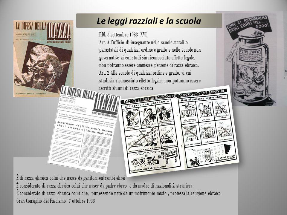 Le leggi razziali e la scuola RDL 5 settembre 1938 XVI Art. All'ufficio di insegnante nelle scuole statali o parastatali di qualsiasi ordine e grado e