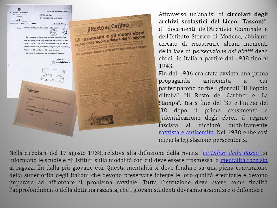 """Attraverso un'analisi di circolari degli archivi scolastici del Liceo """"Tassoni"""", di documenti dell'Archivio Comunale e dell'Istituto Storico di Modena"""