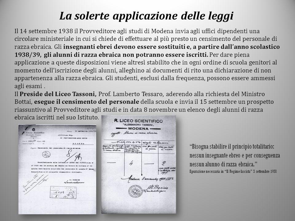 La solerte applicazione delle leggi Il 14 settembre 1938 il Provveditore agli studi di Modena invia agli uffici dipendenti una circolare ministeriale