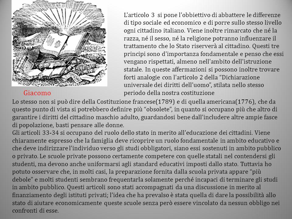 L'articolo 3 si pone l'obbiettivo di abbattere le differenze di tipo sociale ed economico e di porre sullo stesso livello ogni cittadino italiano. Vie