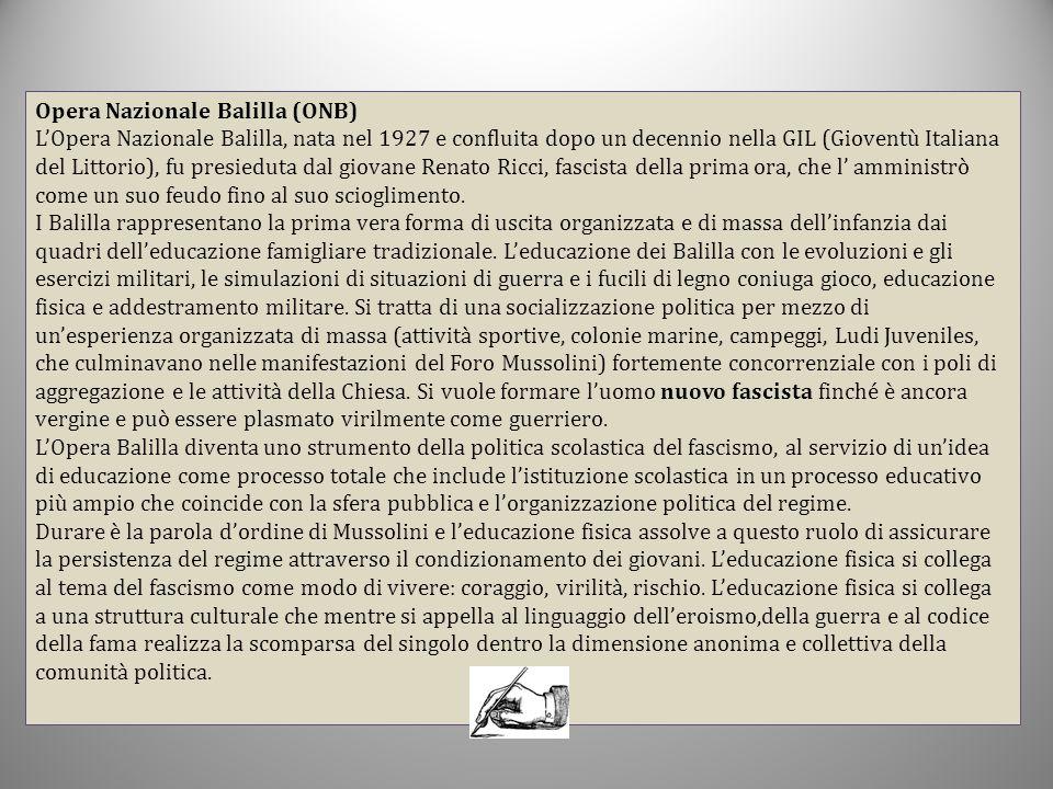 Opera Nazionale Balilla (ONB) L'Opera Nazionale Balilla, nata nel 1927 e confluita dopo un decennio nella GIL (Gioventù Italiana del Littorio), fu pre