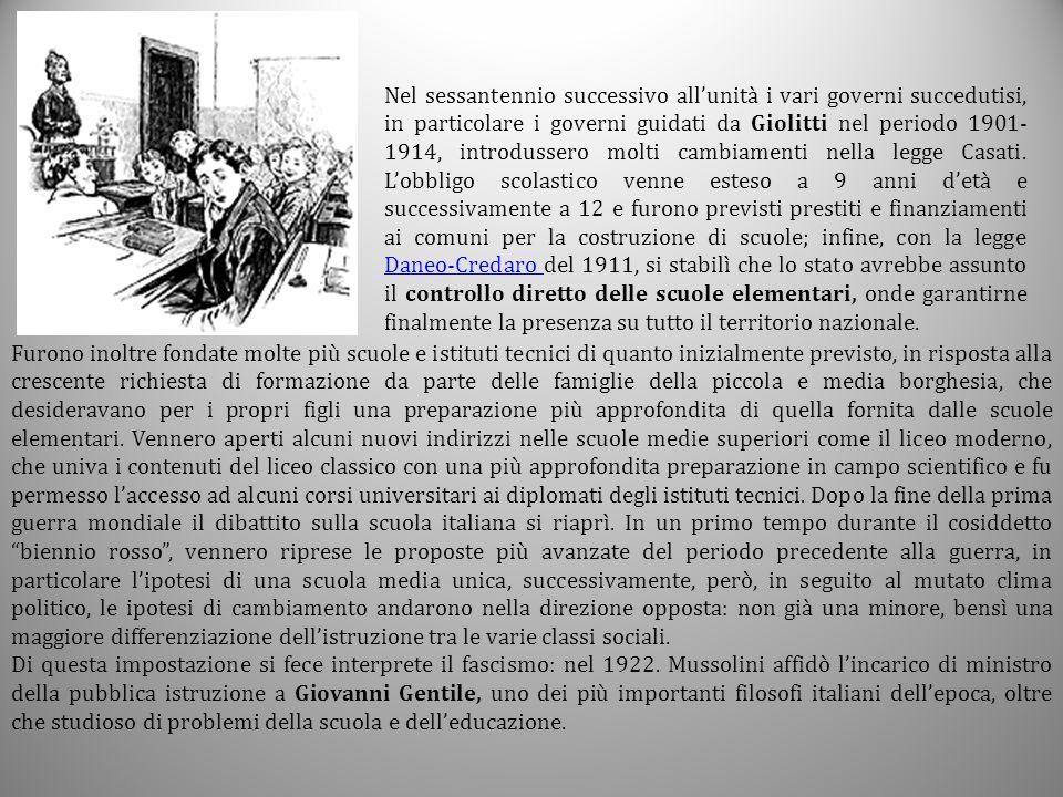 Nel sessantennio successivo all'unità i vari governi succedutisi, in particolare i governi guidati da Giolitti nel periodo 1901- 1914, introdussero mo