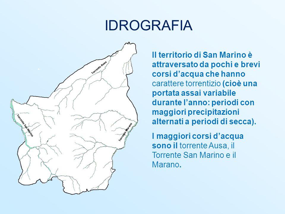 IDROGRAFIA Il territorio di San Marino è attraversato da pochi e brevi corsi d'acqua che hanno carattere torrentizio (cioè una portata assai variabile
