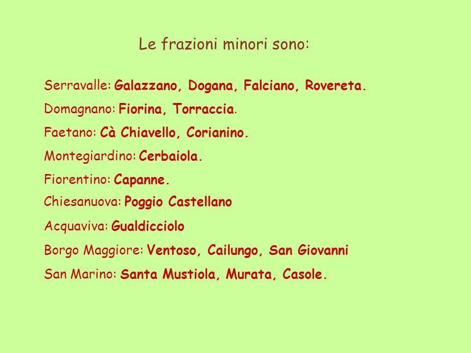 Chiesanuova: Poggio Castellano Acquaviva: Gualdicciolo Borgo Maggiore: Ventoso, Cailungo, San Giovanni San Marino: Santa Mustiola, Murata, Casole. Le