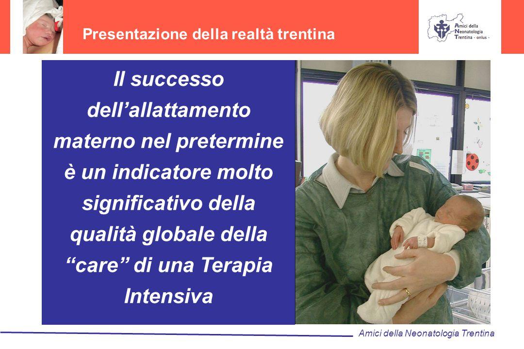 Presentazione della realtà trentina Amici della Neonatologia Trentina Il successo dell'allattamento materno nel pretermine è un indicatore molto signi