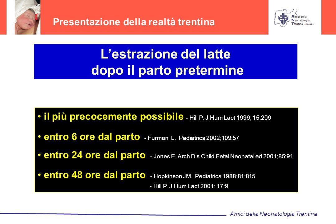 Presentazione della realtà trentina L'estrazione del latte dopo il parto pretermine il più precocemente possibile - Hill P. J Hum Lact 1999; 15:209 en