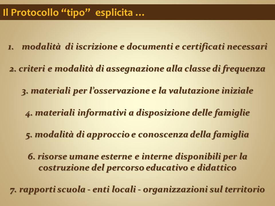 """Il Protocollo """"tipo"""" esplicita … 1.modalità di iscrizione e documenti e certificati necessari 2. criteri e modalità di assegnazione alla classe di fre"""