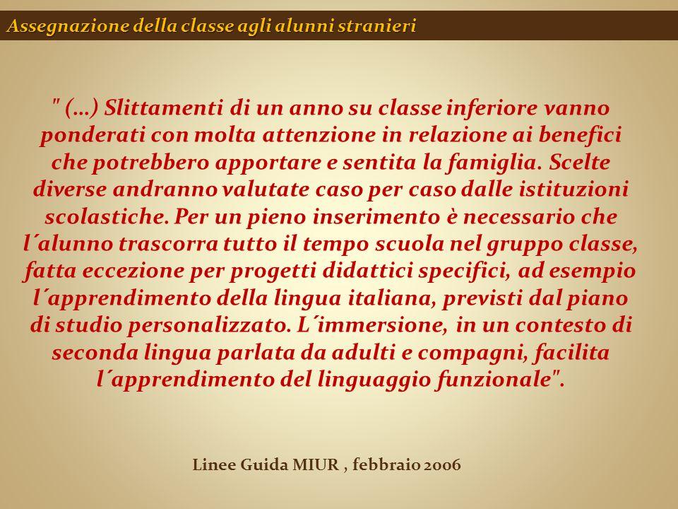 Assegnazione della classe agli alunni stranieri