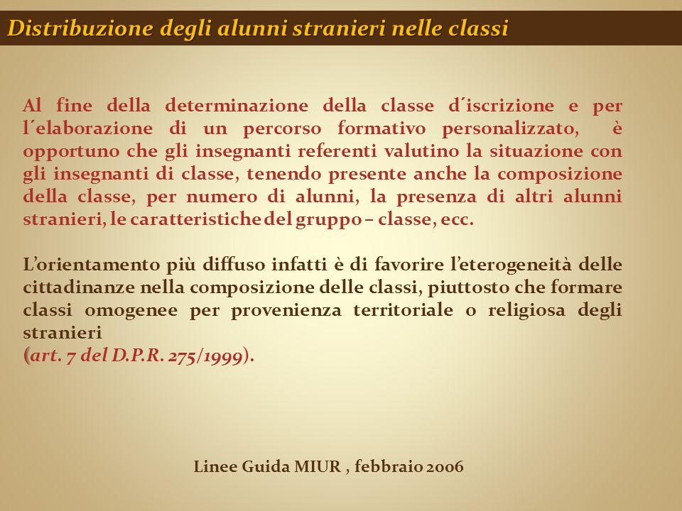 Distribuzione degli alunni stranieri nelle classi Linee Guida MIUR, febbraio 2006 Al fine della determinazione della classe d´iscrizione e per l´elabo