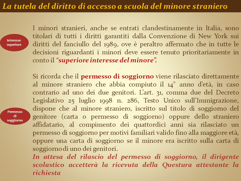 La tutela del diritto di accesso a scuola del minore straniero Permesso di soggiorno I minori stranieri, anche se entrati clandestinamente in Italia,
