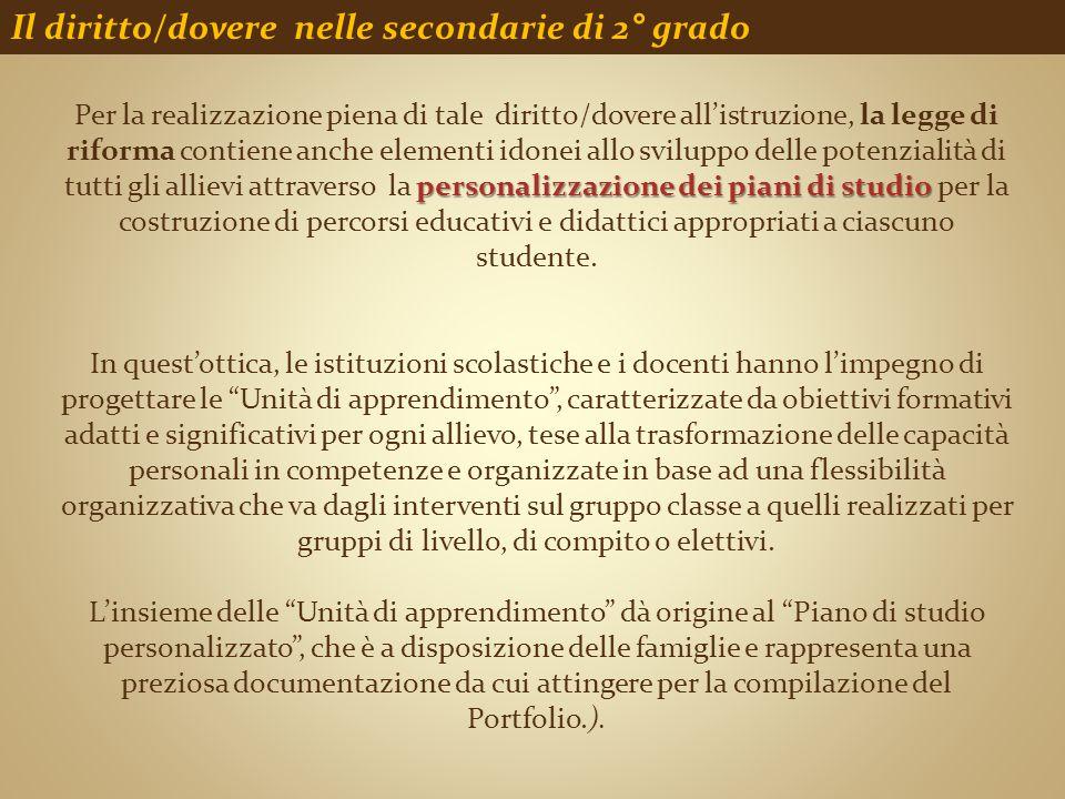 Il diritto/dovere nelle secondarie di 2° grado personalizzazione dei piani di studio Per la realizzazione piena di tale diritto/dovere all'istruzione,