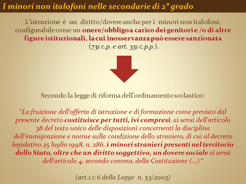 I minori non italofoni nelle secondarie di 2° grado onere/obbligo a carico dei genitori e /o di altre figure istituzionali, la cui inosservanza può es