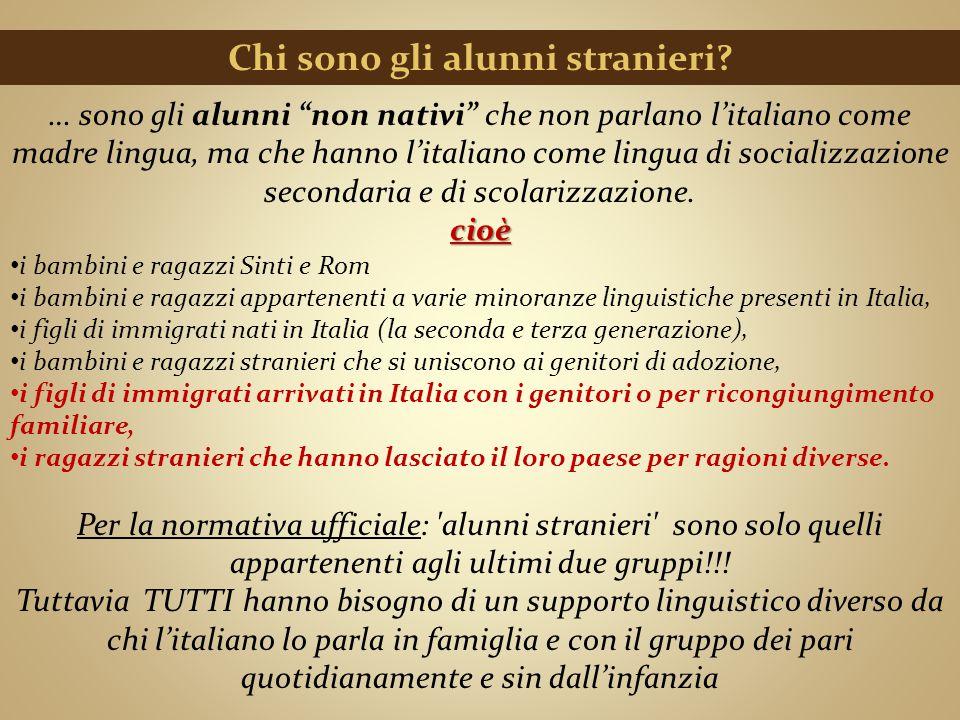 """Chi sono gli alunni stranieri? … sono gli alunni """"non nativi"""" che non parlano l'italiano come madre lingua, ma che hanno l'italiano come lingua di soc"""