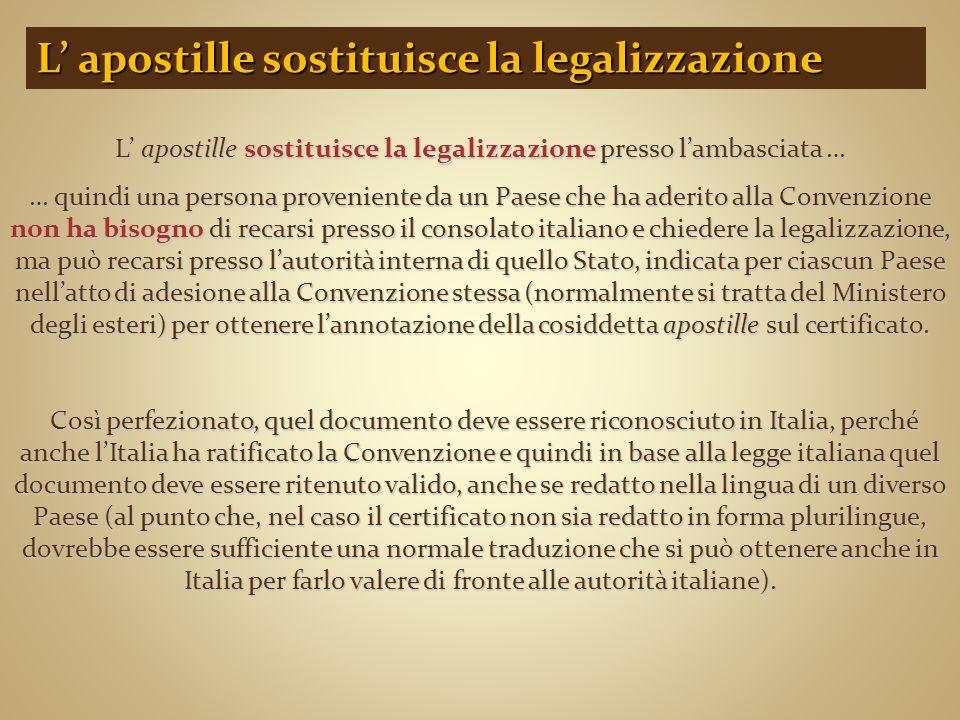 L' apostille sostituisce la legalizzazione presso l'ambasciata … … quindi una persona proveniente da un Paese che ha aderito alla Convenzione non ha b