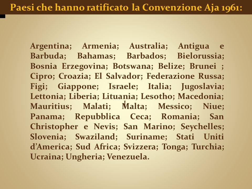I Paesi che hanno ratificato la Convenzione Aja 1961: Argentina; Armenia; Australia; Antigua e Barbuda; Bahamas; Barbados; Bielorussia; Bosnia Erzegov