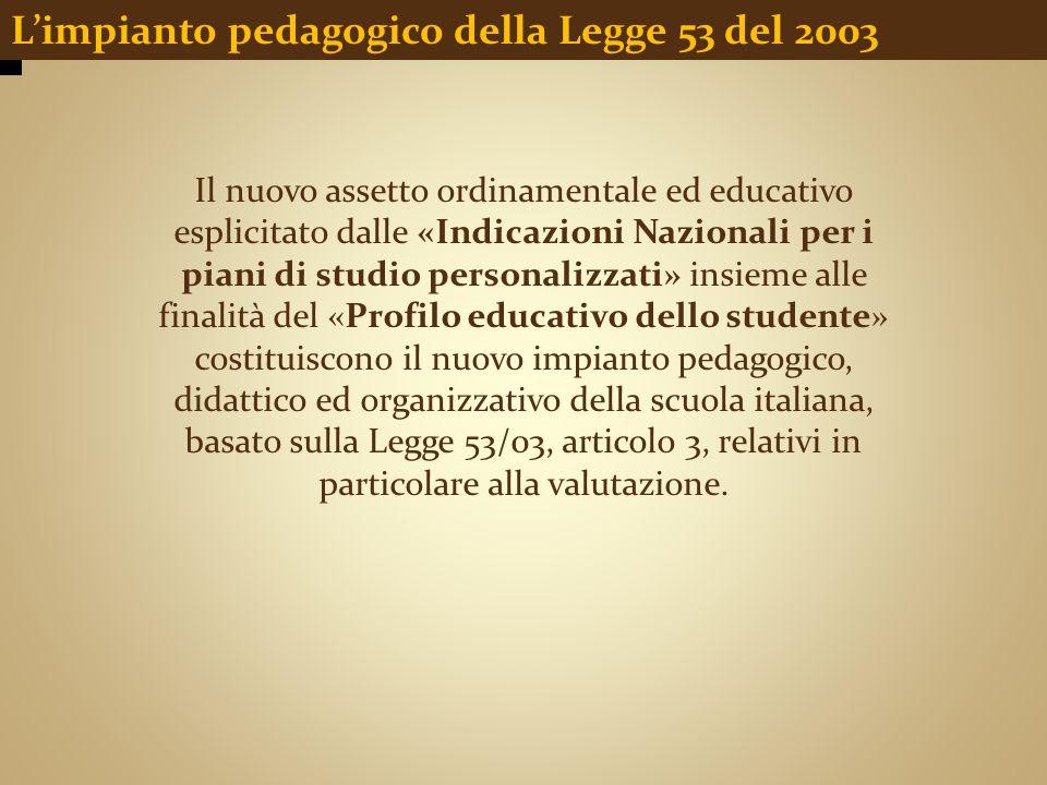 L'impianto pedagogico della Legge 53 del 2003 Il nuovo assetto ordinamentale ed educativo esplicitato dalle «Indicazioni Nazionali per i piani di stud