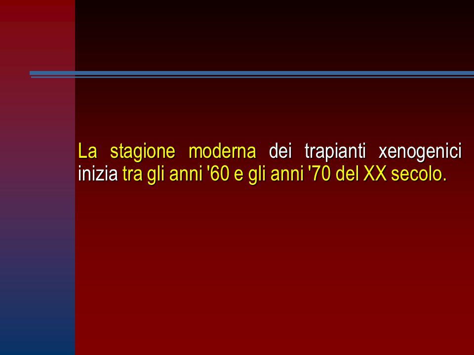 La stagione moderna dei trapianti xenogenici inizia tra gli anni '60 e gli anni '70 del XX secolo.