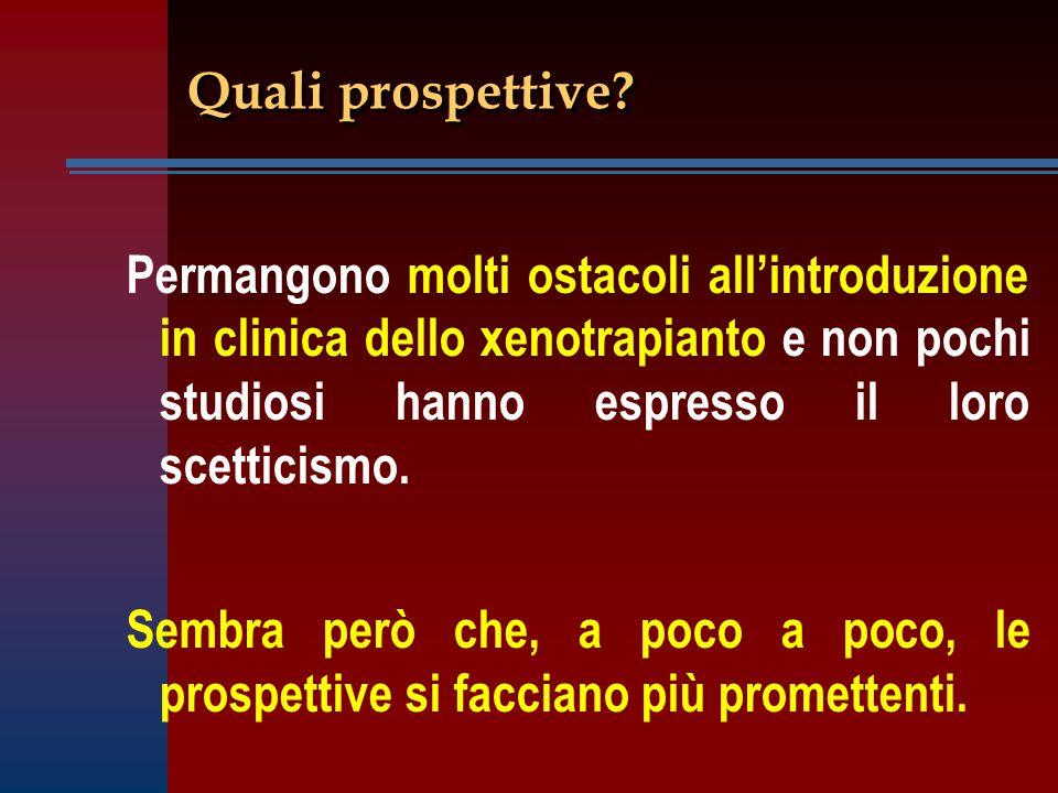 Quali prospettive? Permangono molti ostacoli all'introduzione in clinica dello xenotrapianto e non pochi studiosi hanno espresso il loro scetticismo.