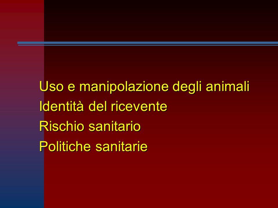 Uso e manipolazione degli animali Identità del ricevente Rischio sanitario Politiche sanitarie