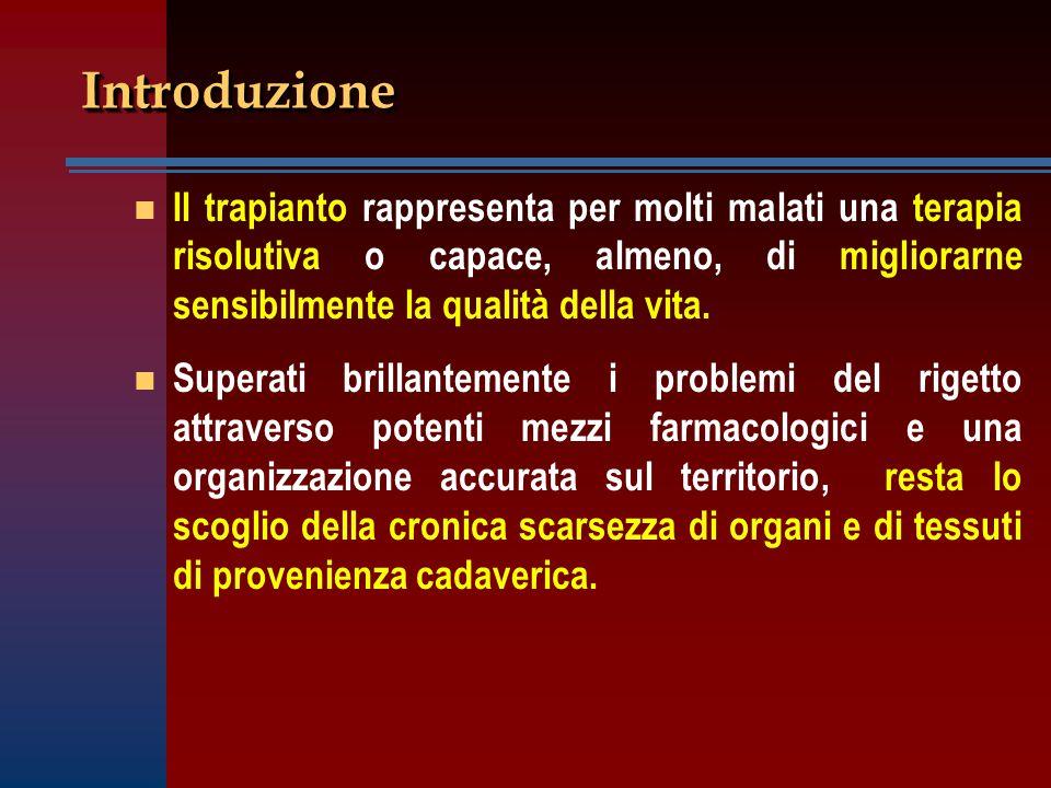 IntroduzioneIntroduzione n n Il trapianto rappresenta per molti malati una terapia risolutiva o capace, almeno, di migliorarne sensibilmente la qualit