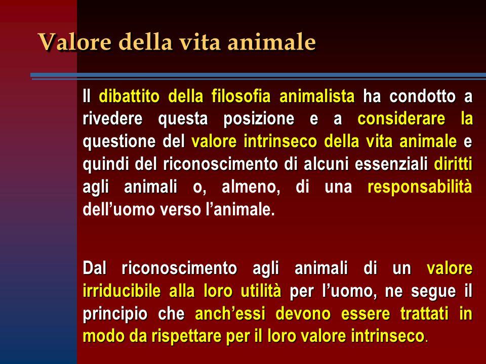 Valore della vita animale Il dibattito della filosofia animalista ha condotto a rivedere questa posizione e a considerare la questione del valore intr