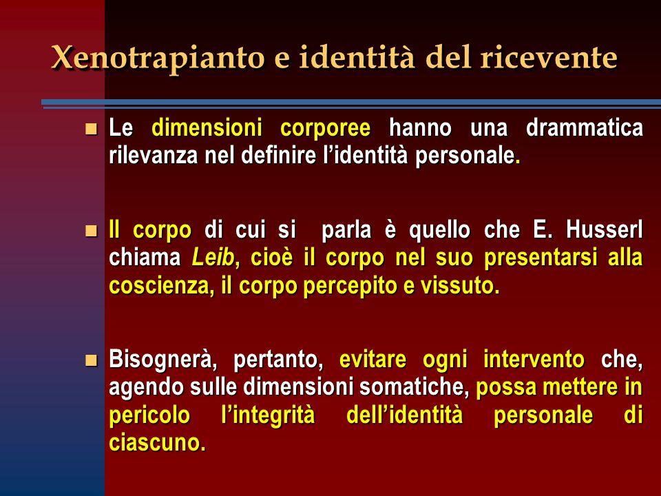 Xenotrapianto e identità del ricevente n Le dimensioni corporee hanno una drammatica rilevanza nel definire l'identità personale. n Il corpo di cui si