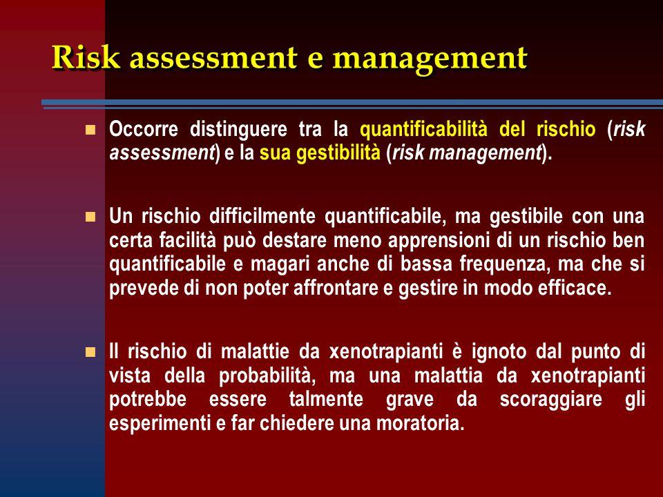 Risk assessment e management n n Occorre distinguere tra la quantificabilità del rischio ( risk assessment ) e la sua gestibilità ( risk management ).