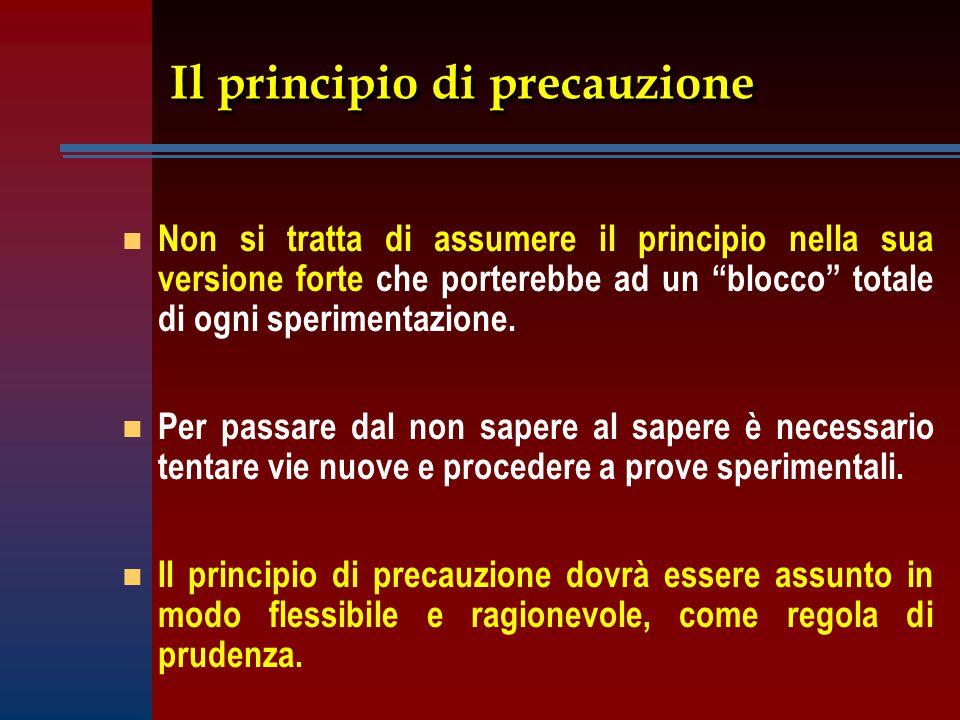 """Il principio di precauzione n n Non si tratta di assumere il principio nella sua versione forte che porterebbe ad un """"blocco"""" totale di ogni speriment"""