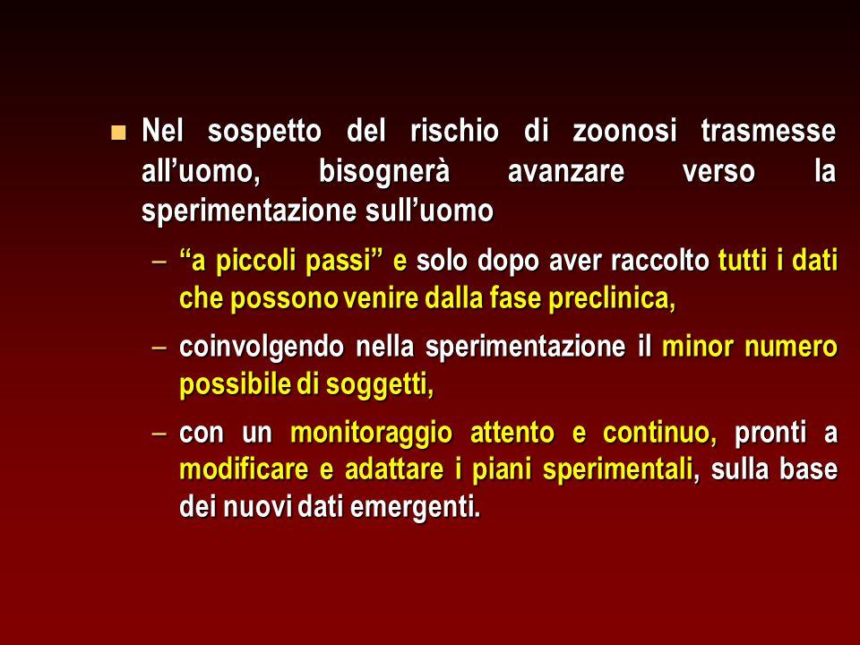 """n Nel sospetto del rischio di zoonosi trasmesse all'uomo, bisognerà avanzare verso la sperimentazione sull'uomo – """"a piccoli passi"""" e solo dopo aver r"""